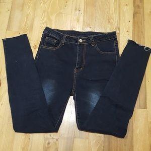 SHEIN High Rise Raw Hem Dark Wash Jeans
